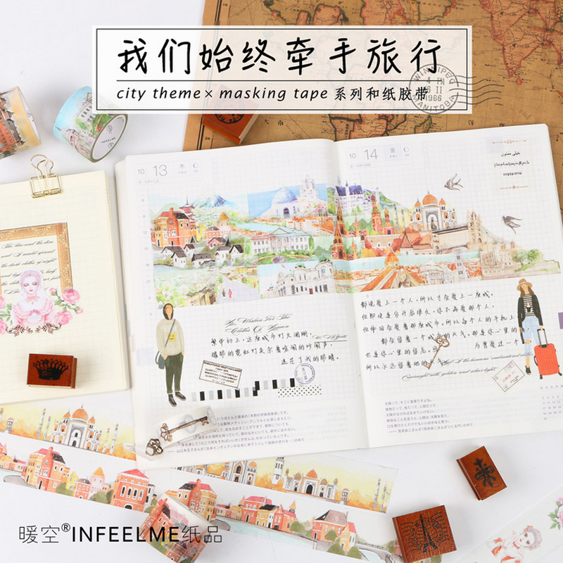 1.5-3cmx7m World Cities City Landscape Washi Tape DIY Decorative Scrapbook Planner Masking Tape Office Adhesive Tape Stationery