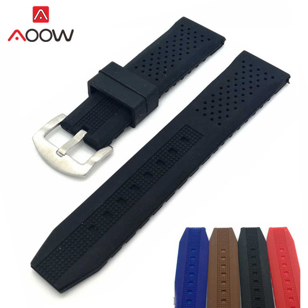 Universal Sport Waterproof Strap Silicone Watchband 16mm 18mm 20mm 22mm 24mm Rubber Breathable Metal Buckle Bracelet Band Belt
