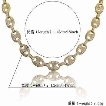 """AAA CZ Stone Paved Marine Link Necklaces Men\'s Hip hop Jewelry Gold Filled Copper Bling Iced Out Coffee Beans Chain 18\"""" 22\"""" Gift"""