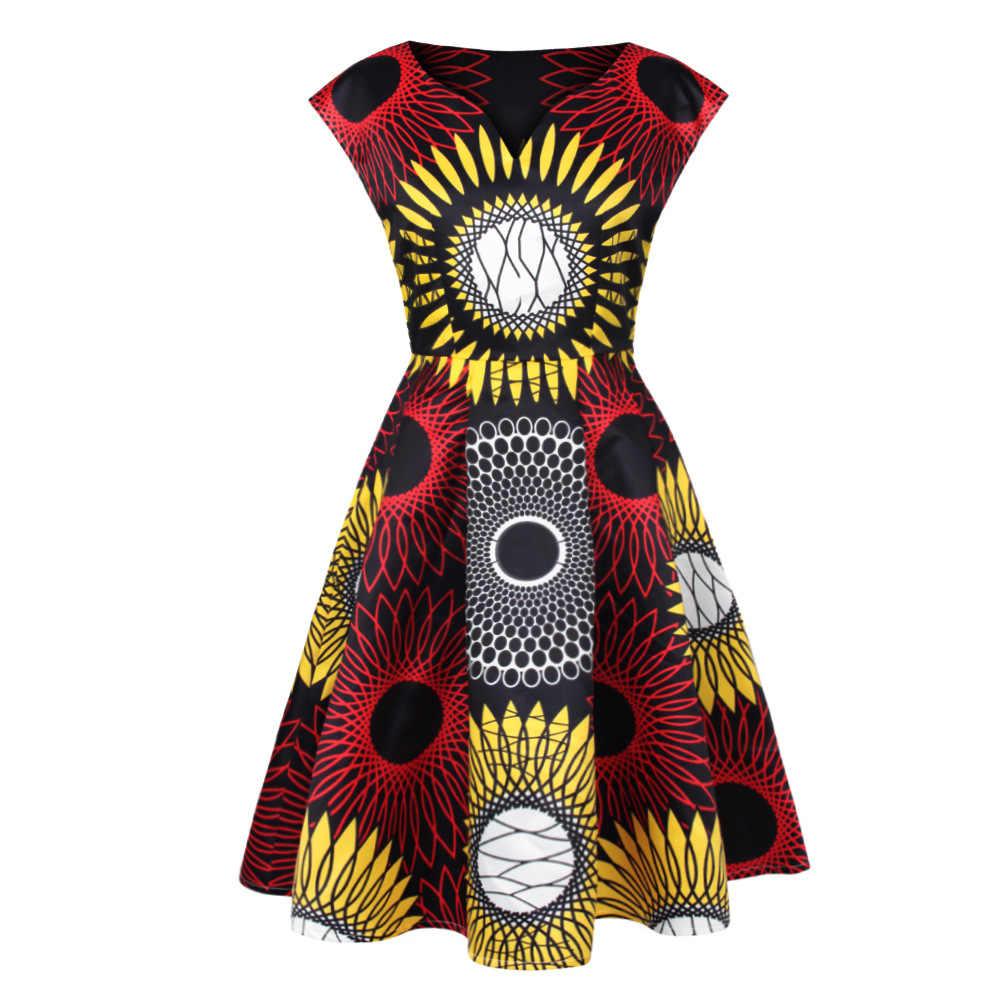 Baskı Afrika Elbiseler Kadınlar Için Geleneksel afrika kıyafeti Dashiki Ankara Sundress Zarif Ropa Dama Batik Afrika Giysi