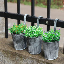 Garden Patio Flower Pot Garden Hanging Balcony Plant Home Decor Metal Iron Potted Planter Flower Pots Planters Garden Tools(China)