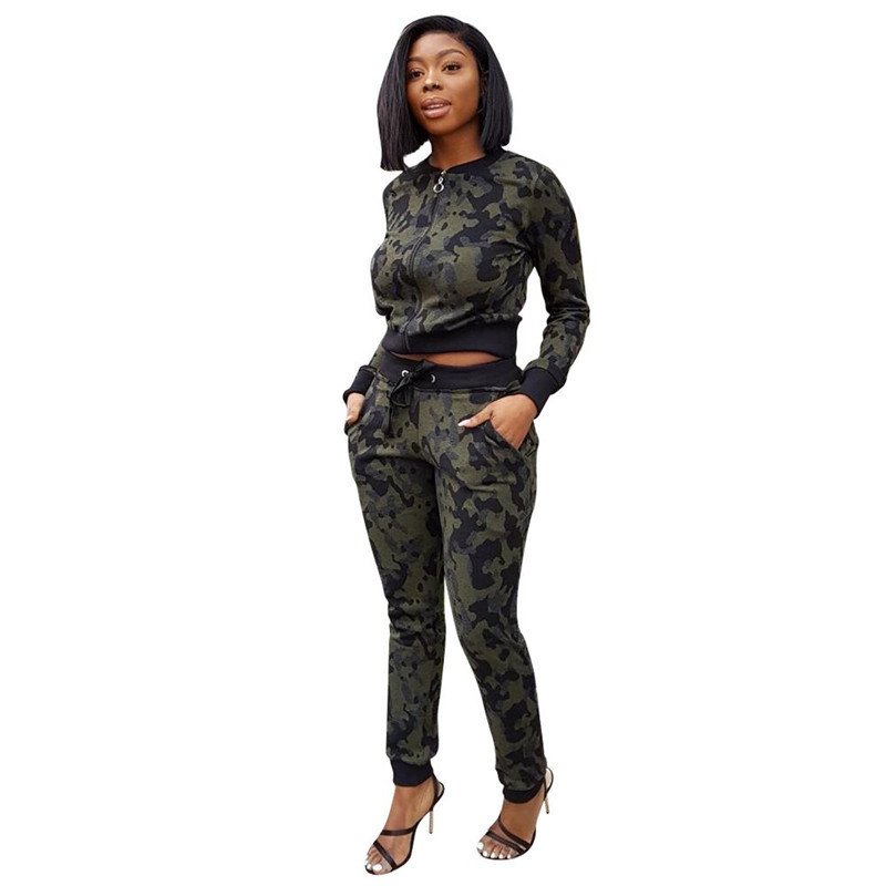 Fashion Camouflage Tracksuit Women Casual Two Piece Sets Autumn Outfits Jacket Top and Pants Sportswear Jogging Camo Sweat Suits