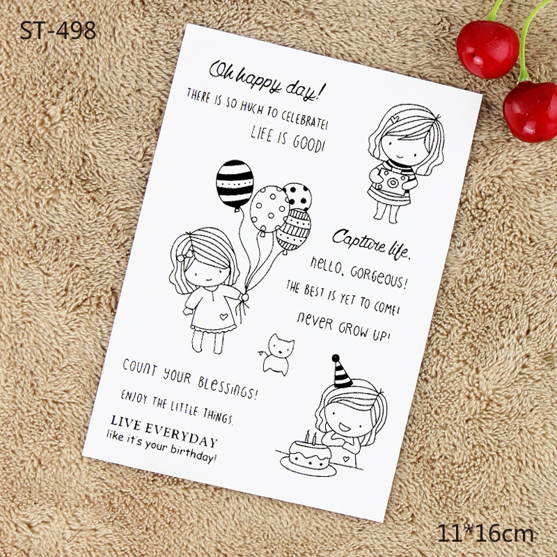 Cute Girl 8pcs Clear Silicone Stamps for Craft Cardmaking Scrapbooking