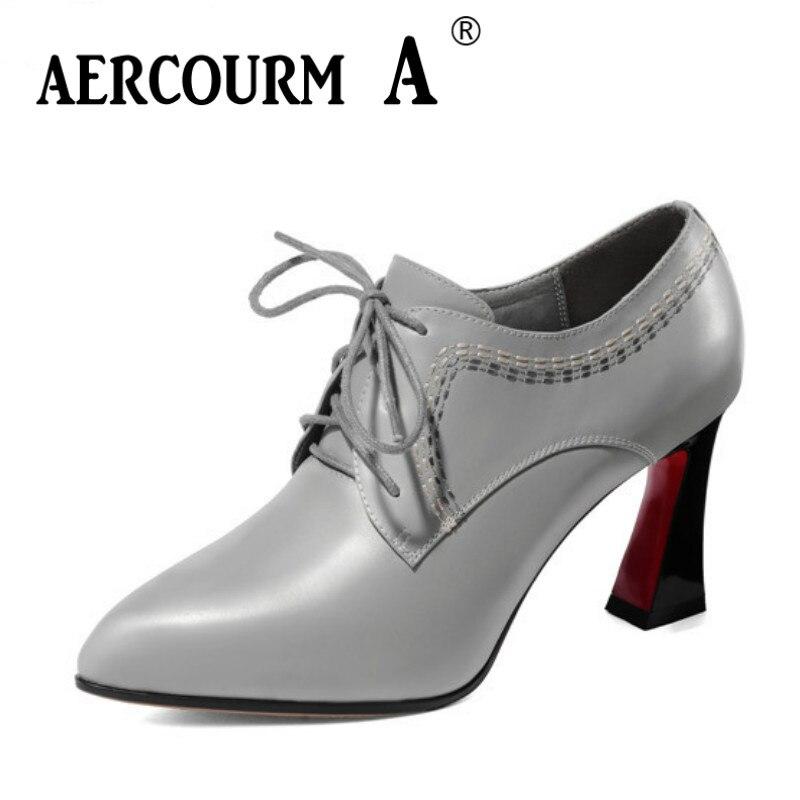 цена на Aercourm A 2019 Women Autumn Genuine Leather Shoes Ladies Sewing Dress Shoes Square Heel Women Platform Pumps Black Gray Shoes