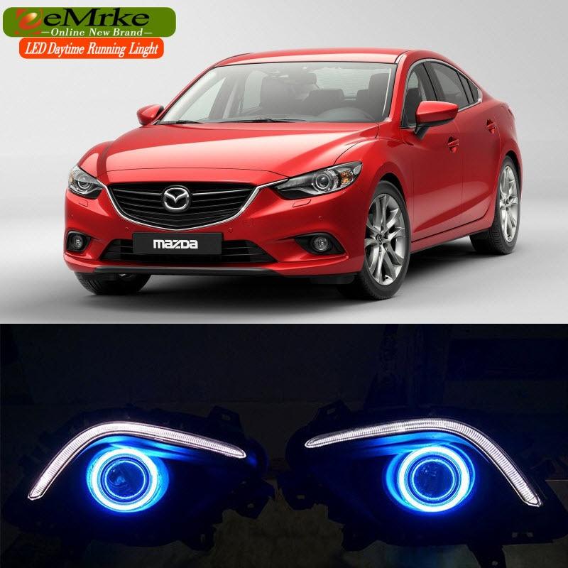 LED Daytime Running Lights For Mazda6 Atenza 2013 2014 2015 2016 LED Angel Eye LED DRL Halogen H11 55W Fog Light cheetah for mazda 3 6 atenza axela daytime running light