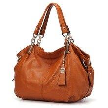 Hakiki deri Hobo çanta kadınlar için 2019 Qiwang tasarımcı büyük kol çantası çanta kahverengi deri üst kolu bayan el çantaları