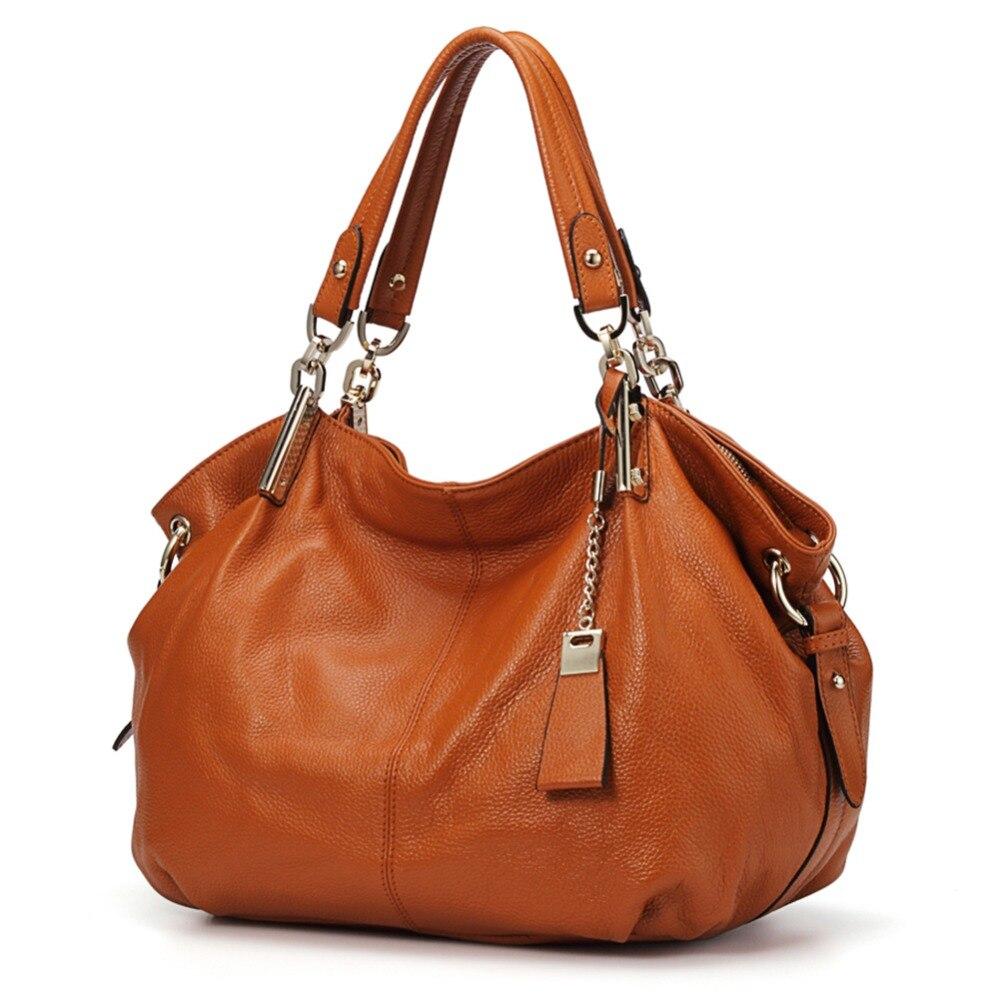 ของแท้หนัง Hobo กระเป๋าถือผู้หญิง 2019 Qiwang Designer ขนาดใหญ่กระเป๋าหนังสีน้ำตาล Lady มือกระเป๋า-ใน กระเป๋าหูหิ้วด้านบน จาก สัมภาระและกระเป๋า บน   1