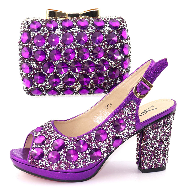Wedding party italian shoes and bag shinning purple shoe and bag high heel 3.6 inches size 38 to 42 shoes and bag set SB8326 7