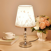 Nordic Crystal Table Lamps PVC Desk Lamps Stainless Steel Tafellamp For Bedside Hotel Bedroom Study Cyrsral Lamp bedside lamp