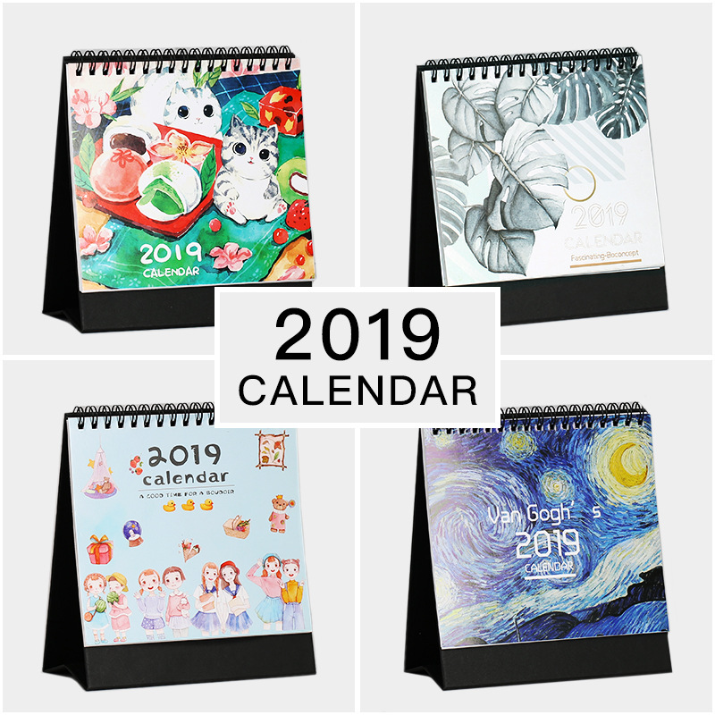 Nuevo año 2019 planificador lindo Kawaii escritorio calendario organizador Oficina escuela suministros Accesorios