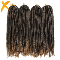 Straight Faux Locs Crochet Braiding Hair Extensions 20strands High Temperature Fiber Ombre Brown Color Synthetic Hair Dreadlocks