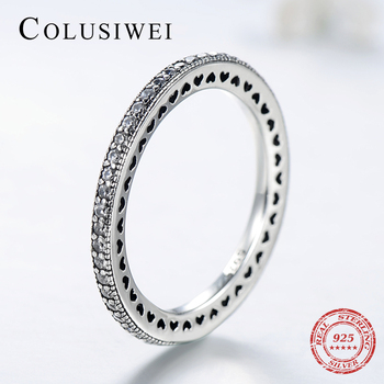 COLUSIWEI Fashion Clear CZ Stackable Hearts Vintage Finger Classic Wedding Real 925 Sterling Silver Ring For Women Engagement
