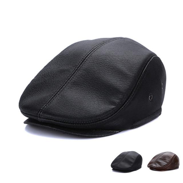 Sombrero de cuero de los hombres masculino 100% cuero genuino adulto  invierno protección del oído d3a4b1f5a97