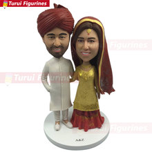 Indian Wedding Cake Topper Personalized Bobble Head Traditional