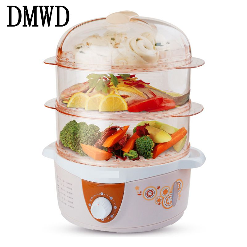 DMWD Household Electric heating Food Steamer 3 Layer Multifunction 4L with timer snake steaming cooker heater 60 Minutes Timing ...