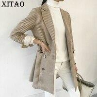 [XITAO] אירופה נשים 2018 אופנה החורף חדשות נשי מעילי רכיסה כפול צווארון מחורצים טרייל מלא שרוול פסים XWW2294
