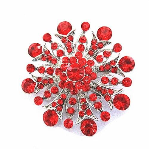 Родиевое покрытие прозрачный горный хрусталь ювелирные изделия большая брошь-цветок с кристаллами для свадебного приглашения - Окраска металла: Red