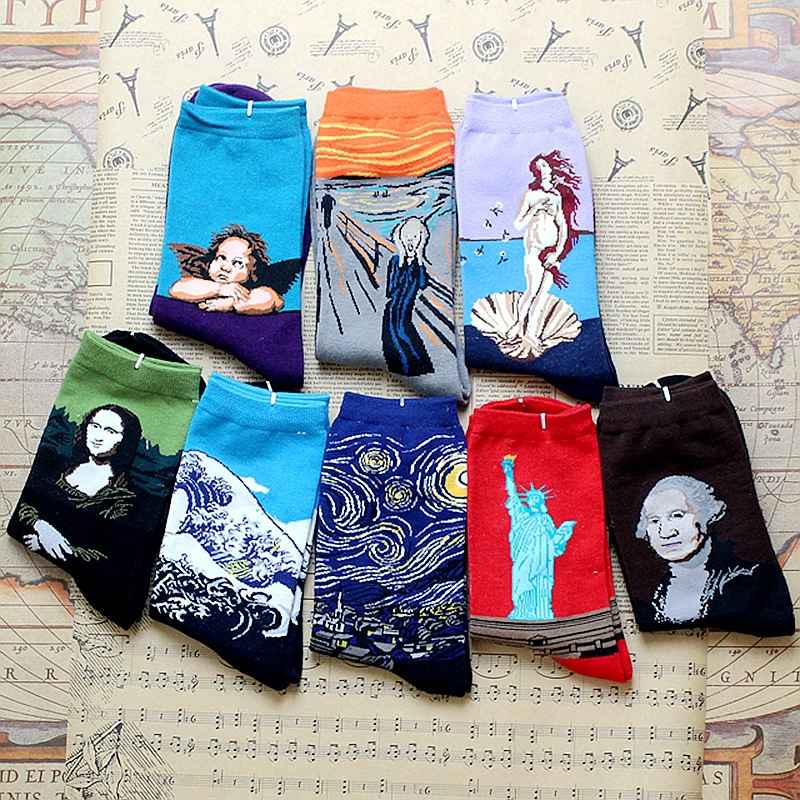 Fashion retro creative men socks Mona Lisa oil painting socks