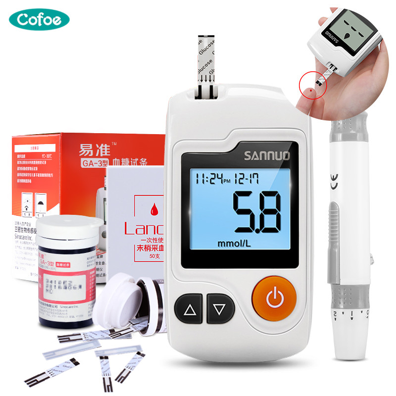 Cofoe GA-3 Blood Glucose Meter Diabetic  Monitor With 100 Strips And 100 Needles Lancets Blood Sugar Detection