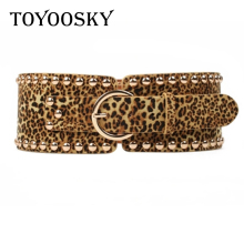 New Fashion Punk Rivets Leopard Belt for Women Wide Corset Imitation Suede Adjustable Slim Body Elastic Waistband Riem