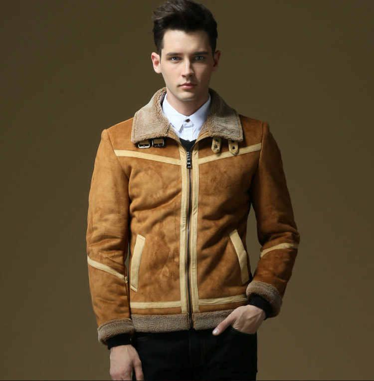 Kenntrice зимняя верхняя одежда мужские пальто из кожи и меха мужская кожаная куртка с флисовой подкладкой бархат толстый тонкий тепловой большой Fourrure