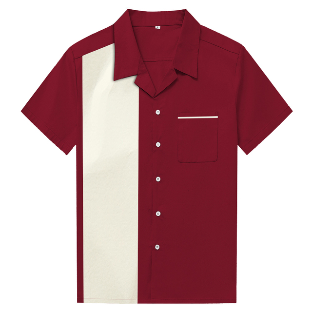 35bcfd3db89db Candow Look Mens Shirts Cotton Plus Size Maroon Ivory Patchwork Short  Sleeve Casual Camisa Masculina Men s Clothing
