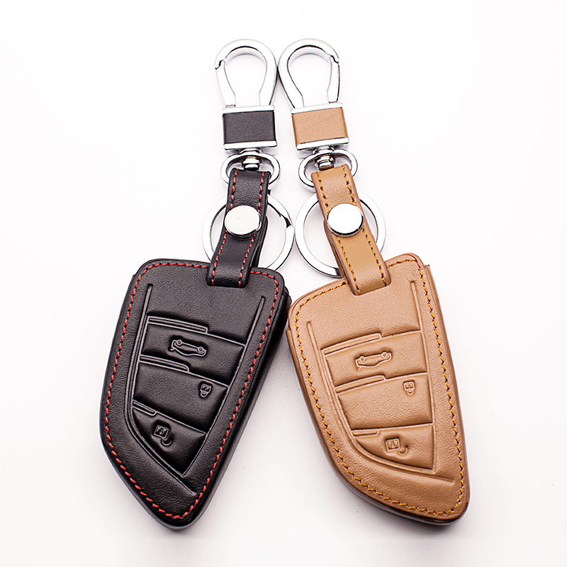 Hot sale Genuine Leather Car Key Case Shell Cover For BMW 1 2 5 Series 218i F48 X1 X5 X6 F15 3 buttons Key cases Car wallet