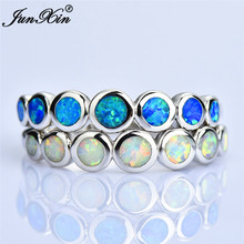 New Fashion Female Small Round Finger Ring Silver Color Blue Fire Opal Stone Vintage Wedding Engagement Rings For Women