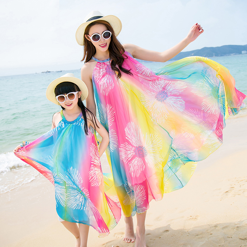 Mother Daughter Dresses Maxi Dress Bohemia Chiffon One-piece Dress Girls Dresses Summer 2016