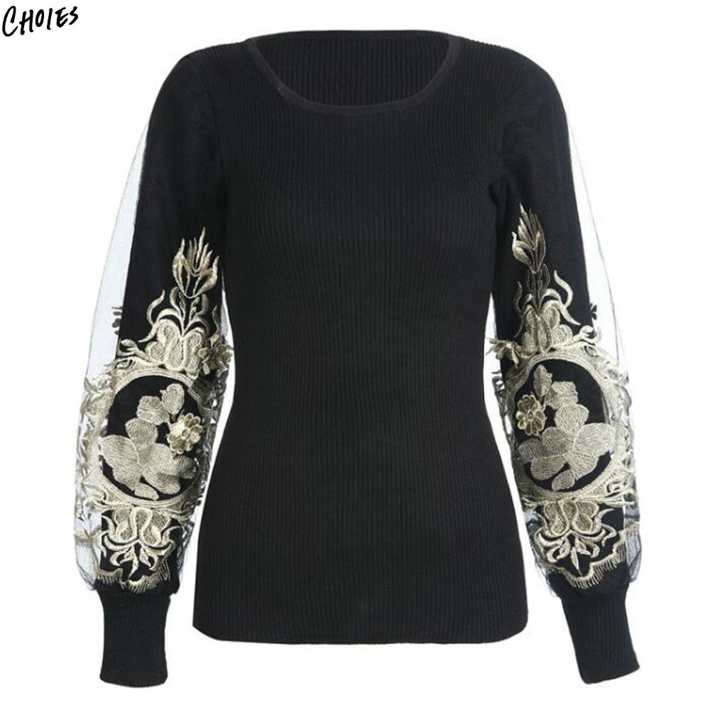 Black Floral Embroidered Jumper Patchworked Mesh Sleeve Knitted Pullover Sweater Women Round Neck Novelty Design Fall Top Wear