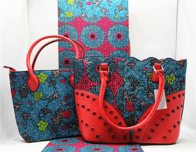 African Fabric Wax Print High Quality Cotton With Handbags Sets And
