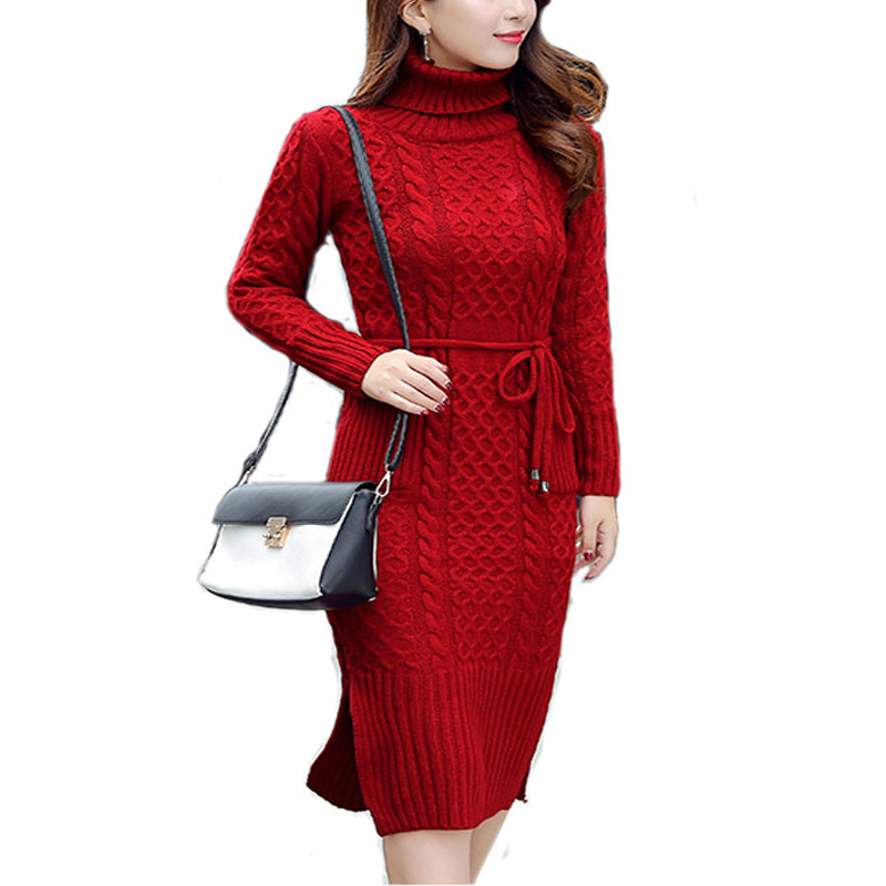 New Winter Dress Vestidos 2017 Women Casual Long Sleeved Turtleneck Solid Slim Elegant Pullover Knitted Pencil Bodycon Dresses