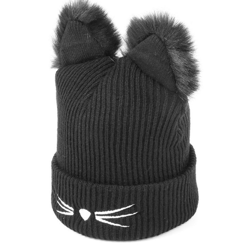Wool Knitted Cat Ears Faux Mink Hats   Skullies     Beanies   Bonnet Femme Fur Pompom Caps Female Warm Winter Hat For Women