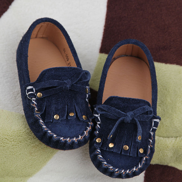 Child casual shoes rivet suede Moccasins baby shoes 1 - 3 years old shoes spring and autumn genuine  single shoes