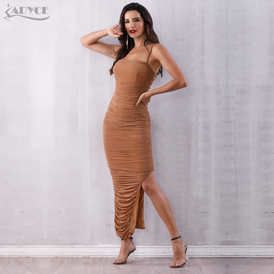 Adyce 2019 New Elegant Maxi Celebrity Party Dress Women Sexy Sleeveless Strapless Spaghetti Strap Draped Nightclub