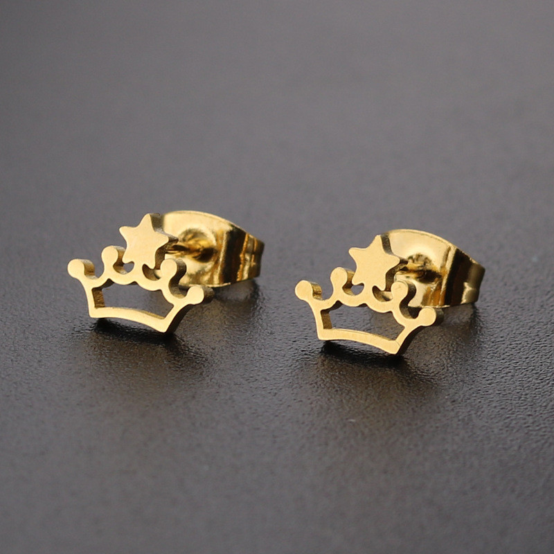 25cfe70eb4bb24 Star Crown shaped Stainless steel Stud Earring For Women Men Simplicity Hip  Hop Gold Silver Color