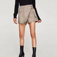 Women Deer Velvet GlossTexture Irregular Casual Short Culotte With Side Metallic Button