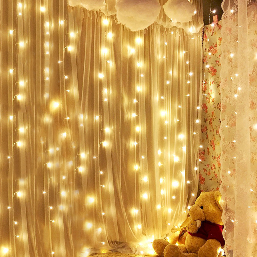 Thrisdar 3X1M 3X2M 3X3M 6X3M Christmas Icicle Curtain LED String Light Outdoor Garden Window Fairy String Light Holiday Garland