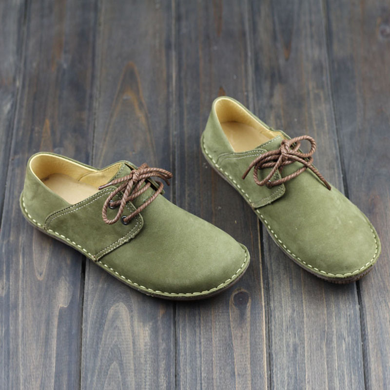 ФОТО Women's Flat Shoes Hand-made 100% Genuine Leather Slip on Shoes Round Toe Lace up Vintage Green Mori Girl Style  (9589)