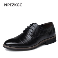 NPEZKGC Mens Business Shoes Leather Luxury Dress Shoes Men Four Seasons Male Fashion Flats Pointed Toe