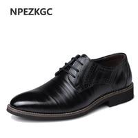 NPEZKGC Mens Business Shoes Leather Luxury Dress Shoes Men Four Seasons Male Fashion Flats Pointed Toe