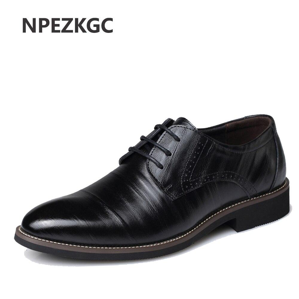 NPEZKGC Mens Business Shoes Leather Luxury Dress Shoes Men Four Seasons Male Fashion Flats Pointed Toe Work Shoes
