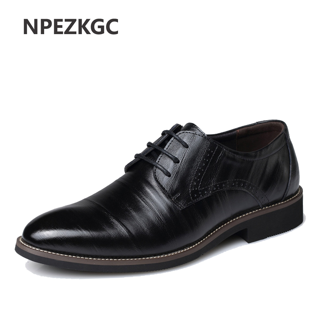 NPEZKGC Mens Business Shoes Leather Luxury Dress Shoes Men Four Seasons Male Fashion Flats Pointed Toe Work Shoes