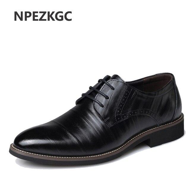 Npezkgc Для мужчин S Бизнес обувь Кожа Элитная одежда обувь Для мужчин Four Seasons мужской Модная обувь на плоской подошве офисные туфли с острым носком