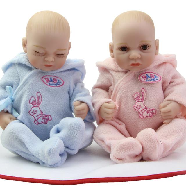 Corpo cheio de Silicone Reborn Gêmeos Babiea Bonito Pequeno Amendoim 11 Inch Newborn Menino E Menina Bonecas Do Bebê do Aniversário Dos Miúdos de Natal presente