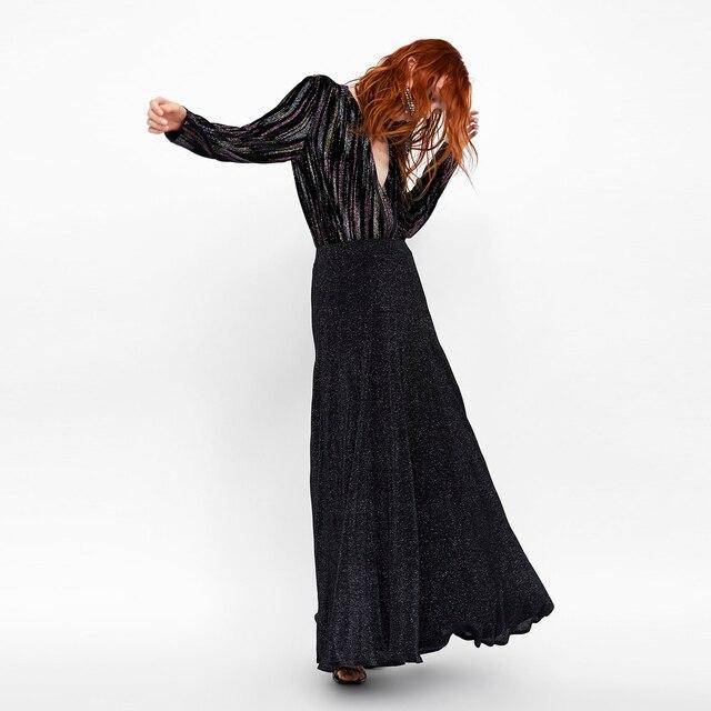 e510603ab Elegante negro Sexy gris largo brillo faldas hasta el tobillo mujer danza  Natural plisado señoras Casual Oficina Streetwear