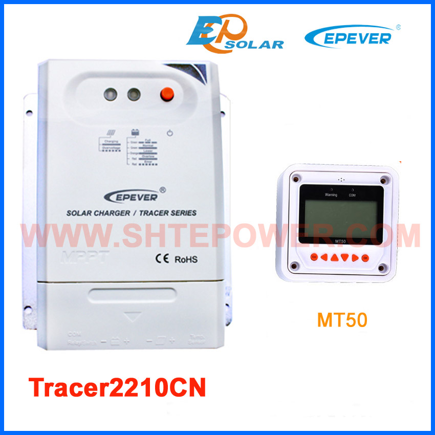 MPPT Tracer2210CN solar panel regulator with white remote meter MT50 20A 20amp free shipping mppt 20a solar regulator tracer2210a with mt50 remote meter and temperature sensor