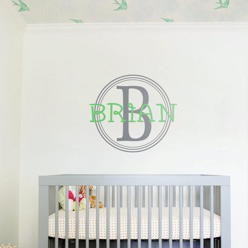Personalized Bedroom Wall Decor : Large circle wall decal with personalized name monogram