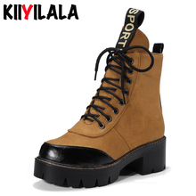 Kiiyilala New Platform Boots Women Shoes Ladies Square Heels Lace-up Ankle For Sewing Breathable Sports