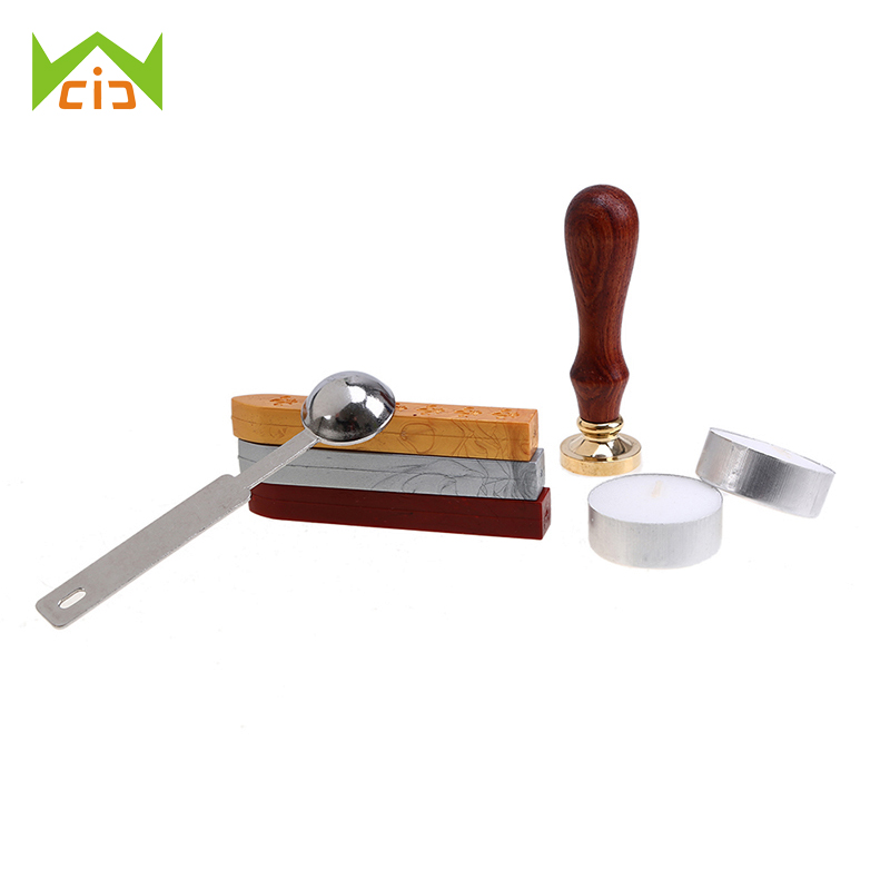 WCIC Retro Wood Sealing Wax Seal Stamp Set Post Decorative Stamp Vintage DIY Scrapbooking Stamps with Wooden Handle for Wedding diy scrapbooking korea streetlight lighthouse retro seal stamps vintage wood rubber stamp album decoration stamp high quality